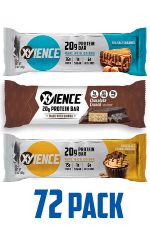 XYIENCE 20g Protein Bar 72 Pack (3 flavor variety)