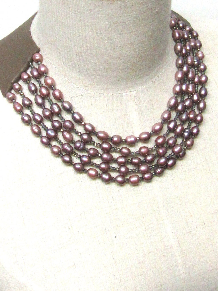 Lindero Necklace - Mauve Pearls