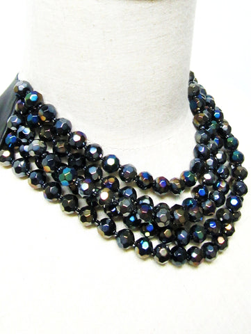 Lindero Necklace - Black Aurora Borealis