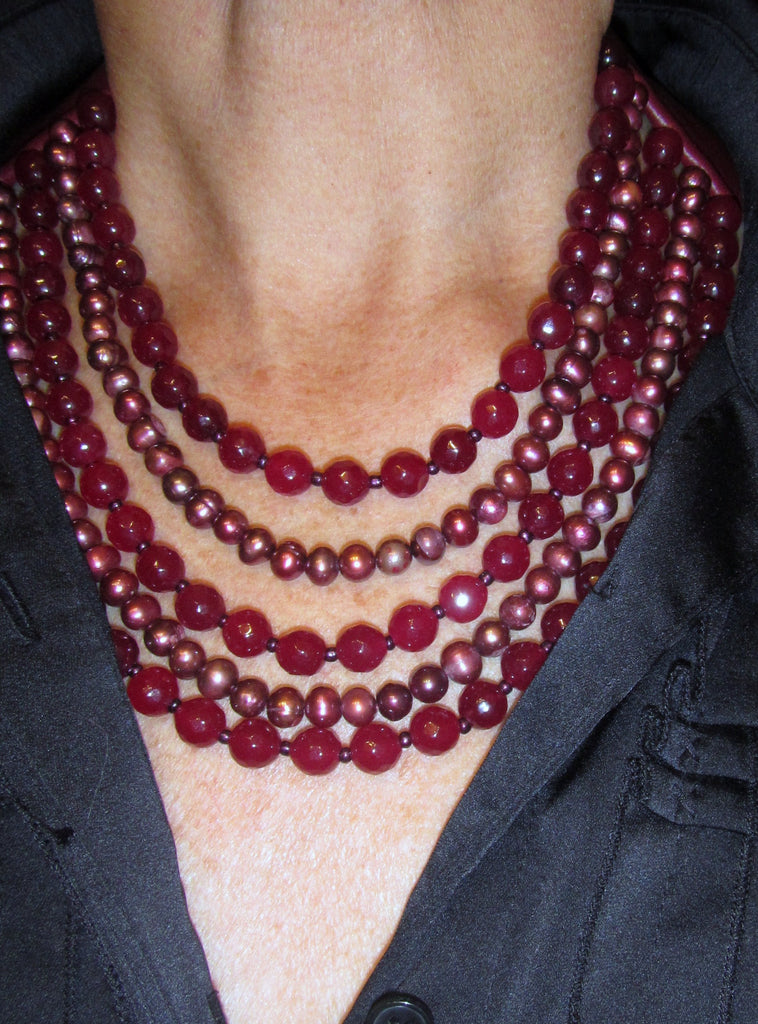 Lindero Necklace - Bugundy Mix