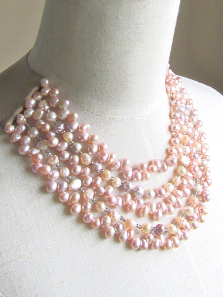 Lindero Necklace - Pink Pearls