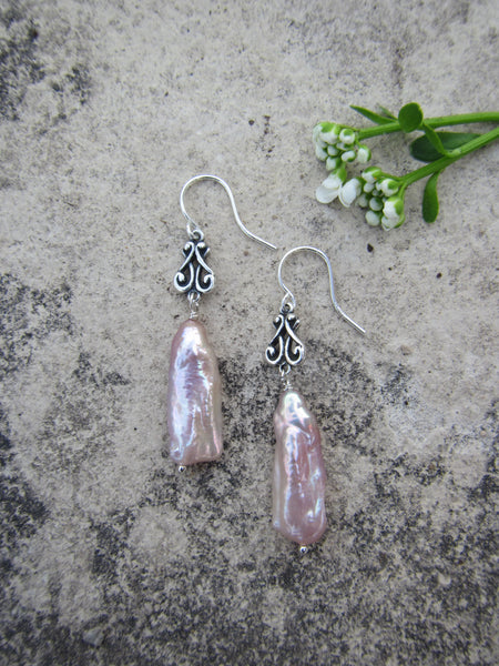Icy Pink Pearl Earrings