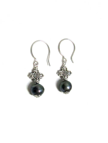 Pearl Drop Earrings - Grey