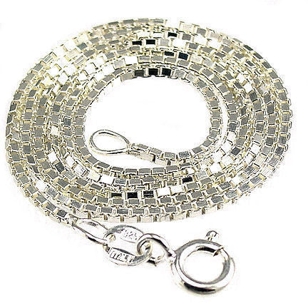 """16/"""" 1.5mm Solid 925 Sterling Silver Box Chain Necklace Made in Italy Jewelry"""