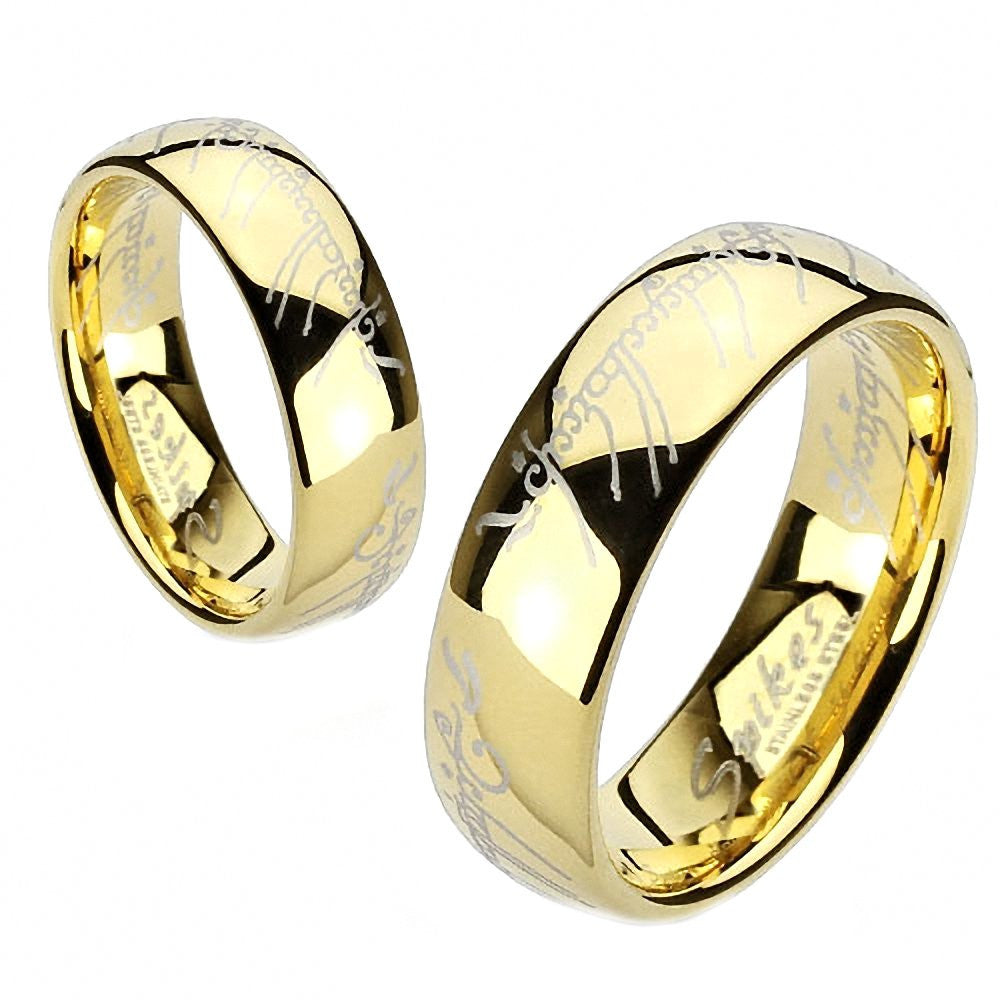 Eregion The One Ring Replica Stainless Steel IP Gold Comfort Fit