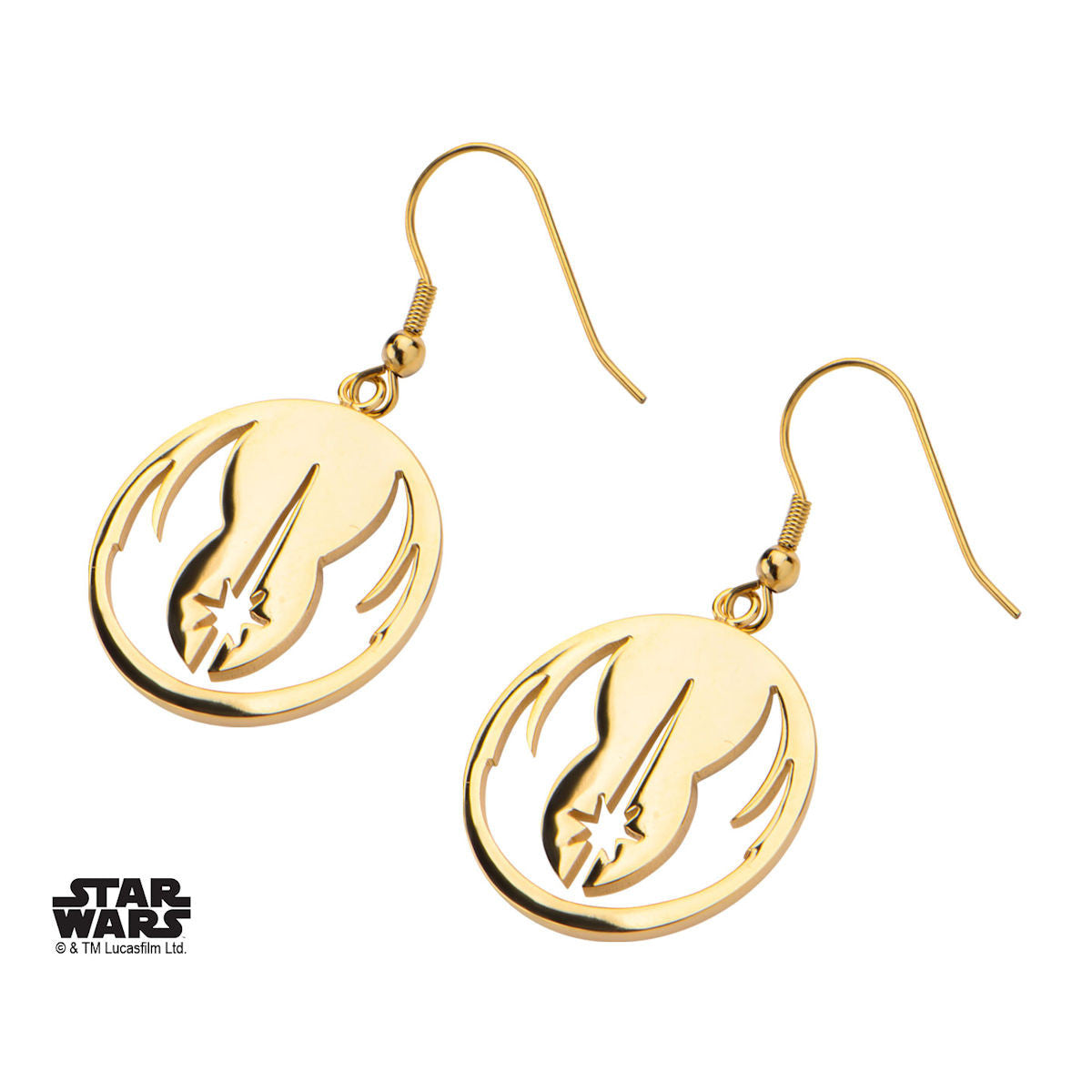 Star wars jedi order symbol hook dangle earrings 316 steel gold star wars jedi order symbol hook dangle earrings 316 steel gold pvd plated trustmark biocorpaavc