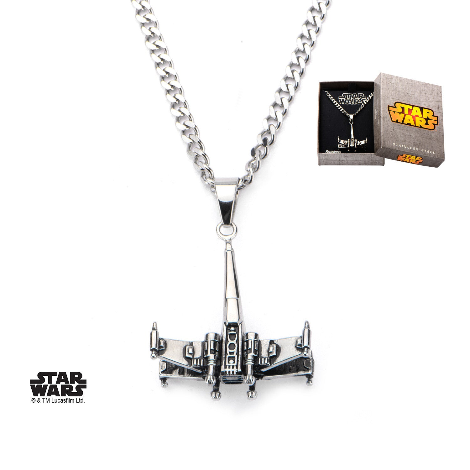 Star wars 3d x wing chain pendant necklace 316 stainless steel star wars 3d x wing chain pendant necklace 316 stainless steel trustmark jewelers mozeypictures Choice Image