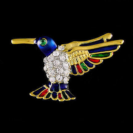 Colorful Flying Hummingbird Crystal Lapel Tack Pin   Trustmark Jewelers    Pins And Brooches