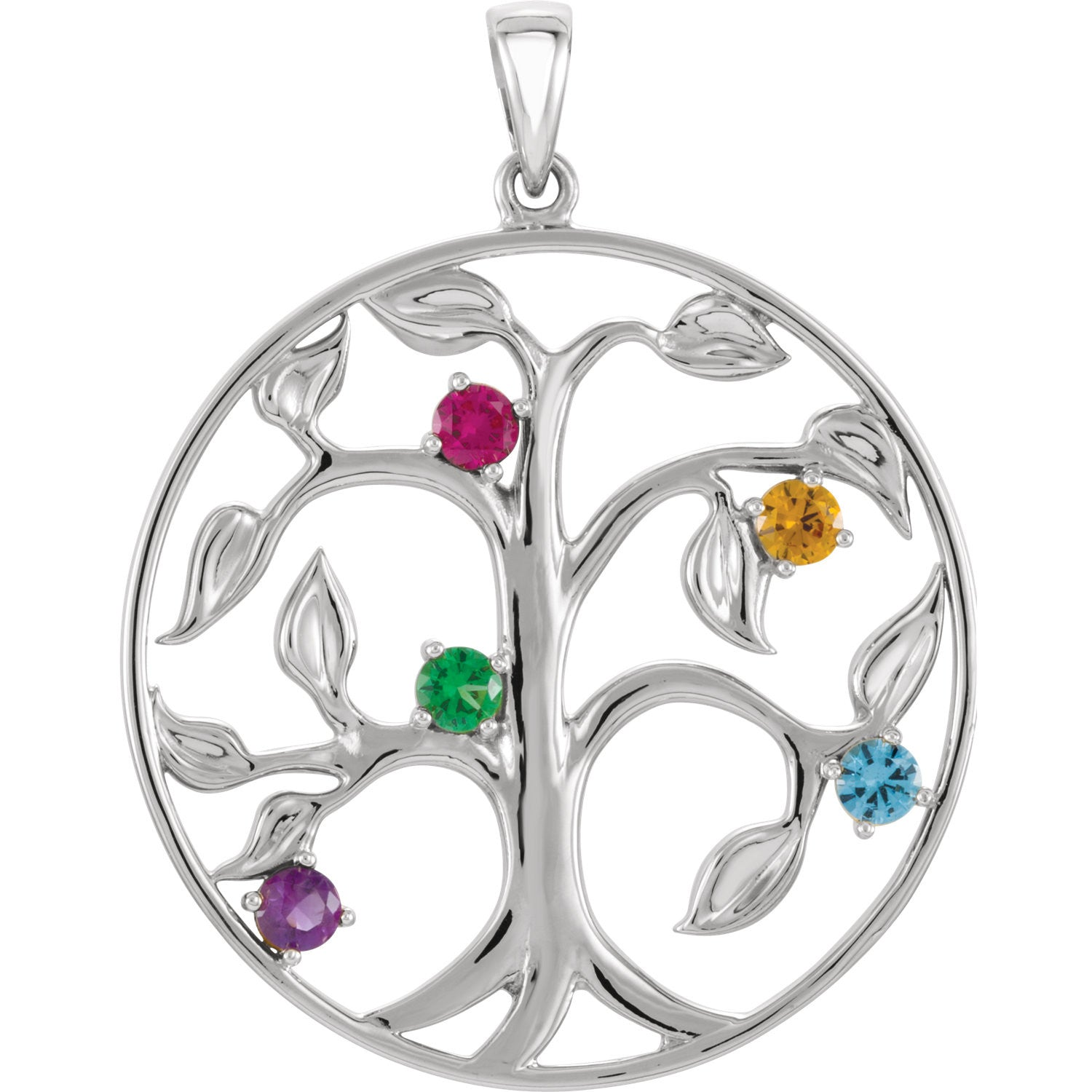family birthstone tree circle limoges pendant jewelry