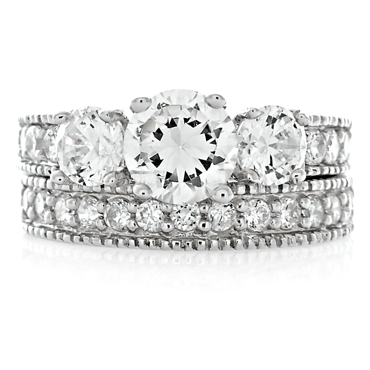 Harlow: 3-Stone Ice on Fire CZ 2 Pc Wedding Ring Set 925 Sterling ...