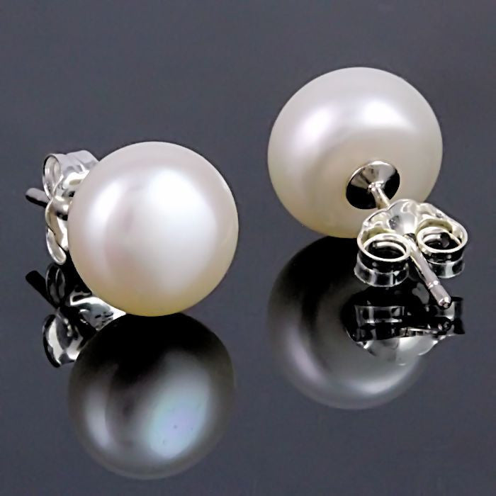 e8ec5b441 ... Alida: 11mm Natural White Freshwater Pearl Stud Earrings 925 Silver -  Trustmark Jewelers - Earrings ...