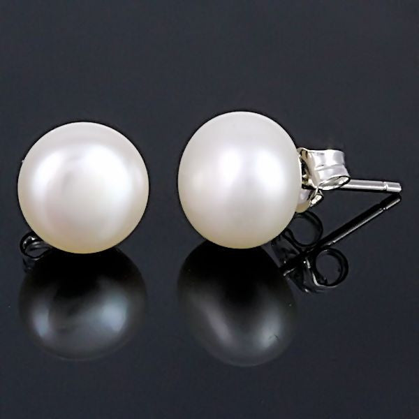 d32f5ba29 ... Alida: 10mm Natural White Freshwater Pearl Stud Earrings 925 Silver -  Trustmark Jewelers - Earrings ...