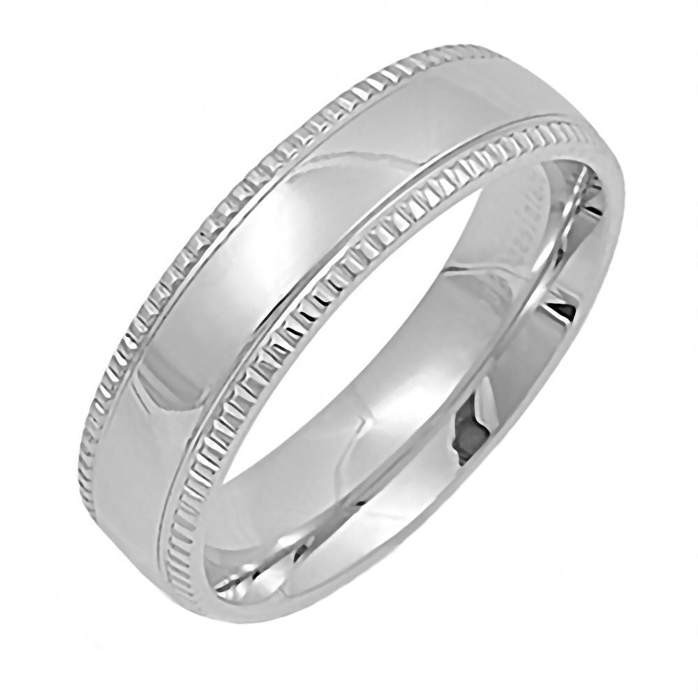 Wedding Bands Classic Bands Milgrain Bands Sterling Silver 6mm Design Edge Band Size 7