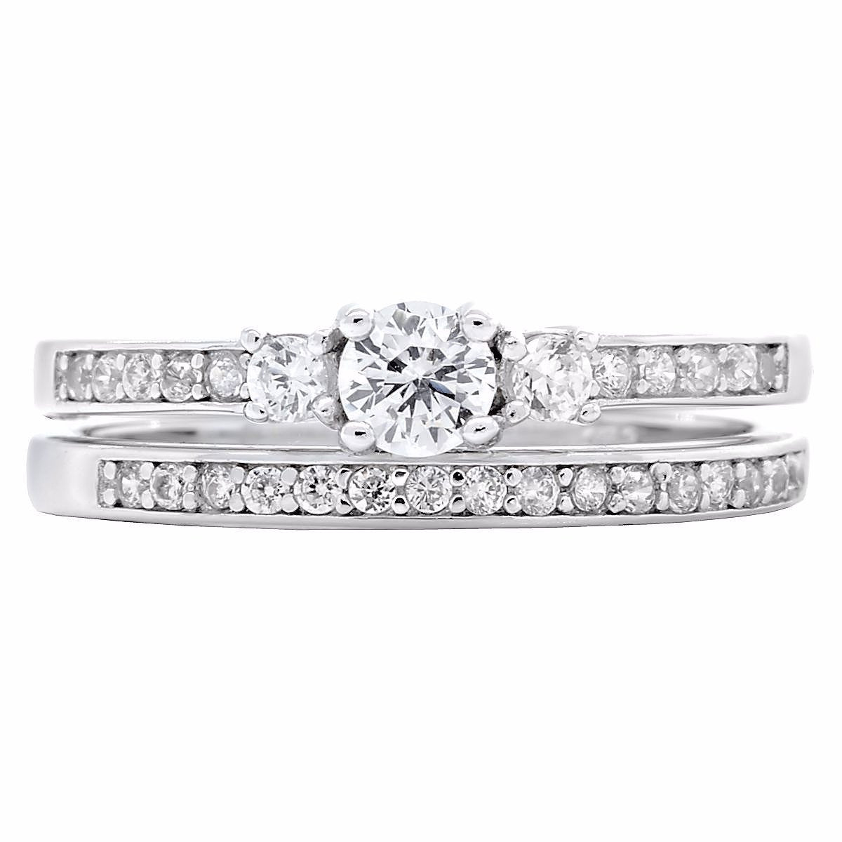 Regina Stylish 06ct Russian IOF Diamond CZ 2 Piece Wedding Ring Set