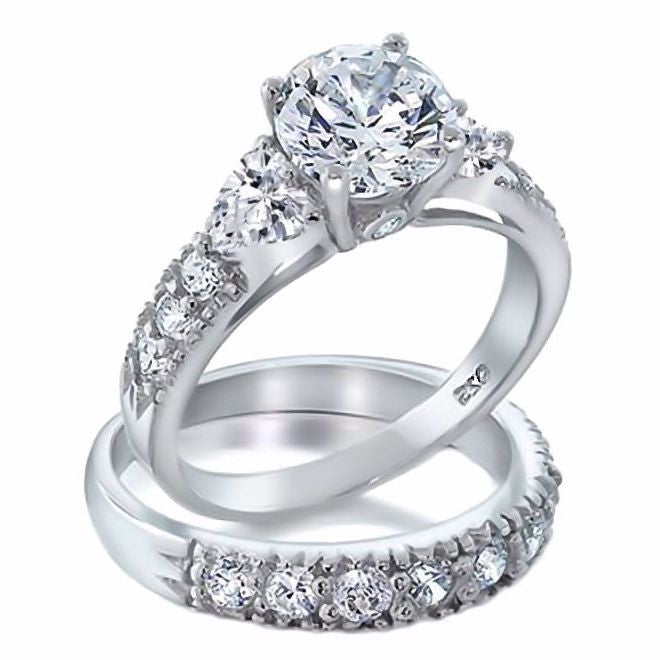 Oliana Gorgeous 412c Russian Ice CZ Diamond 2 Piece Wedding Ring