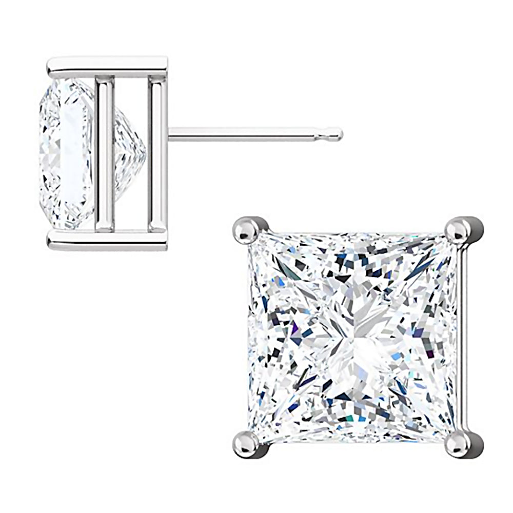 Solitaire Stud Earrings 14K White Gold Over .925 Sterling Silver 9MM Princes Cut Created Gemstones