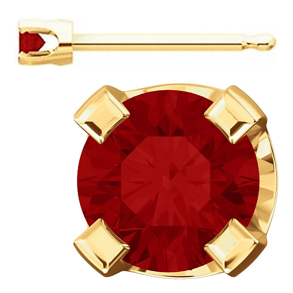 2mm, 0.06cts Trustmark Created Red Ruby 4-Prong Stud Earrings 14K Yellow Gold - 1000Jewels.com