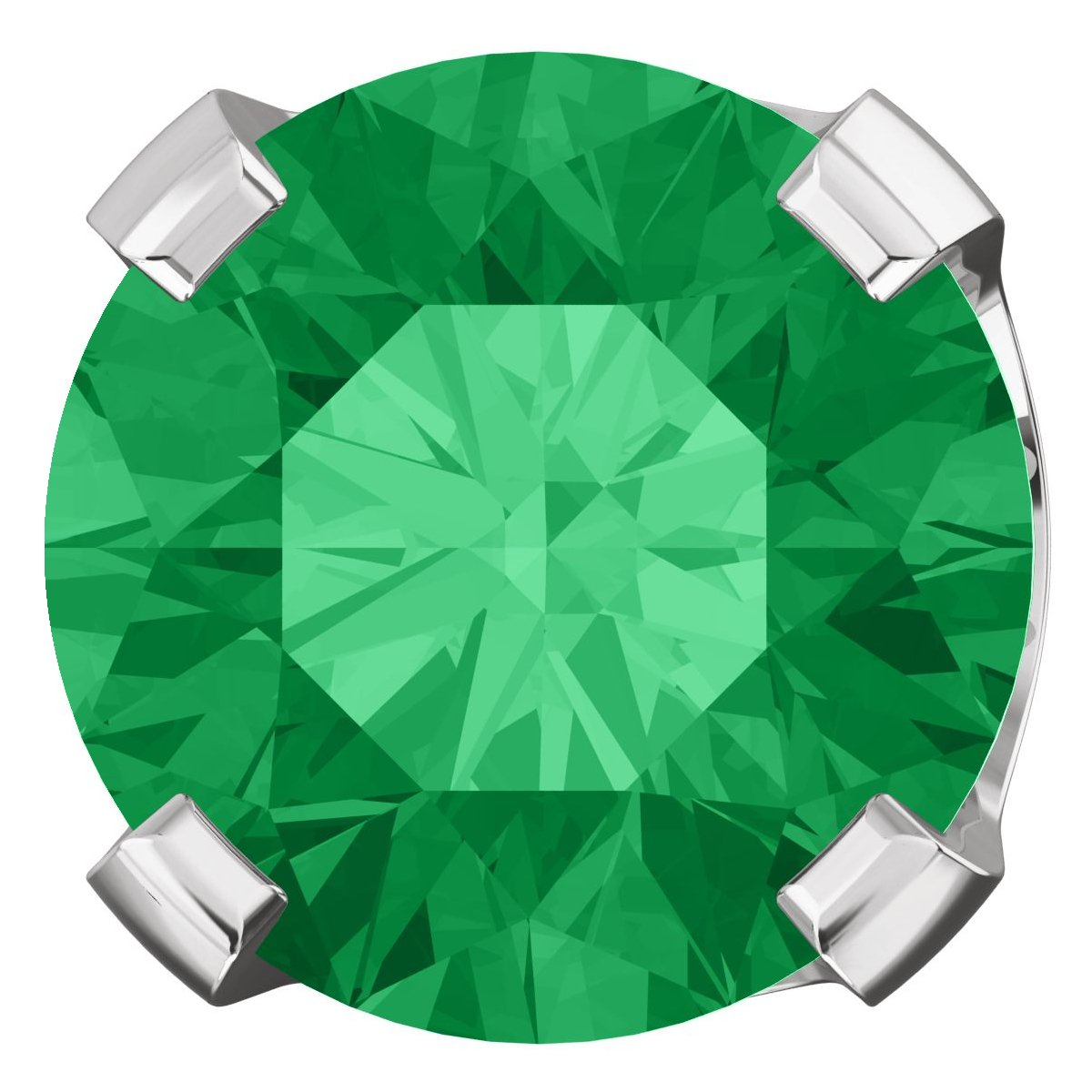 cf29c1e0a ... 6mm, 1.5cts Chatham Created Emerald 4-Prong Stud Earrings 14K White Gold  ...