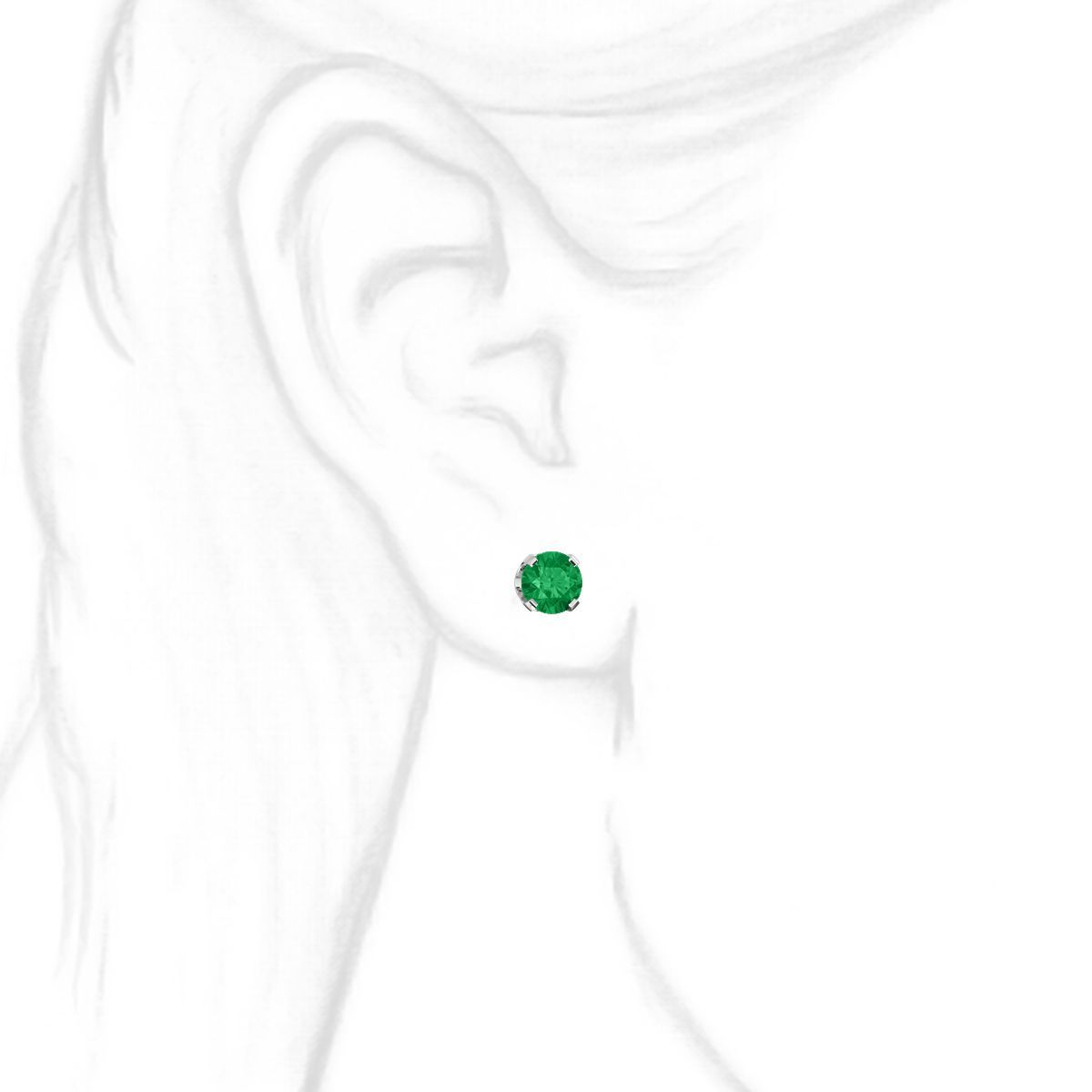 bdc8cf856 6mm, 1.5cts Trustmark Created Emerald 4-Prong Stud Earrings 14K White Gold  ...