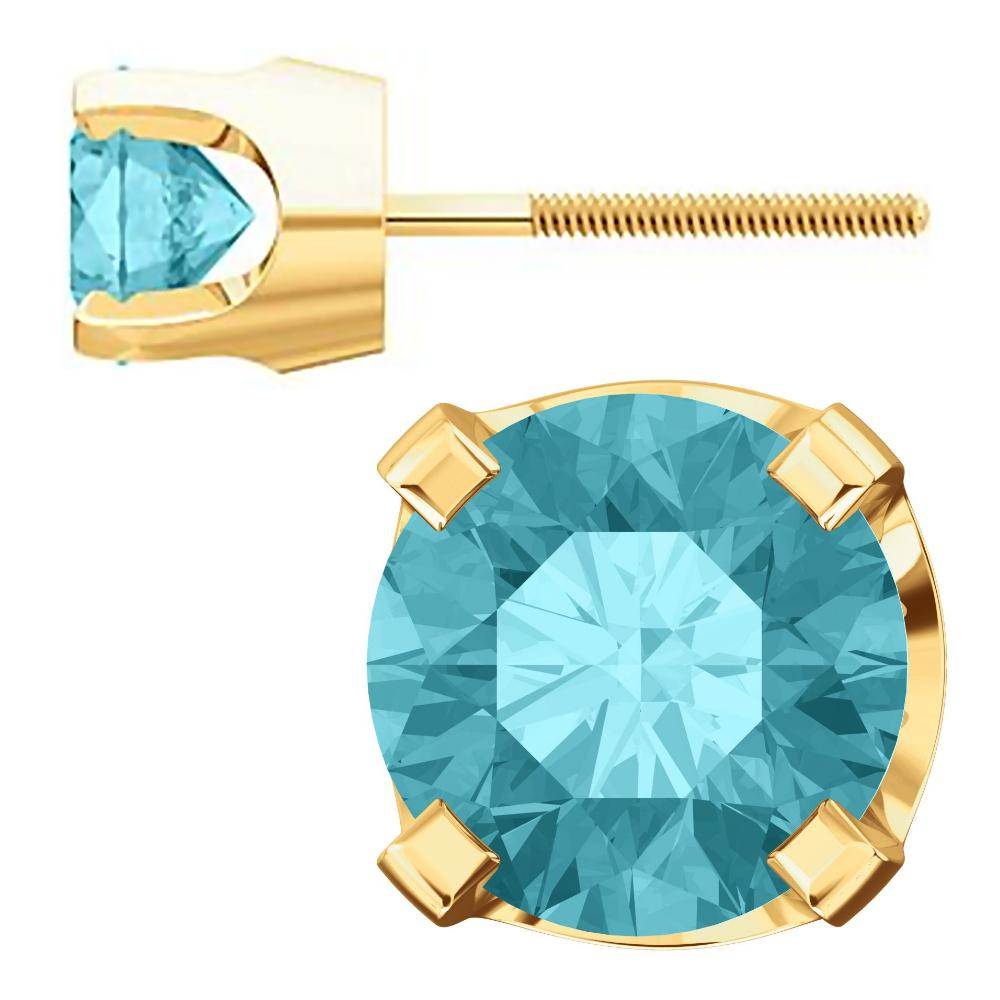 e5d826e50 ... 5mm, 1.0cts Genuine Natural Blue Zircon 4-Prong Screw Back Stud  Earrings 14K ...