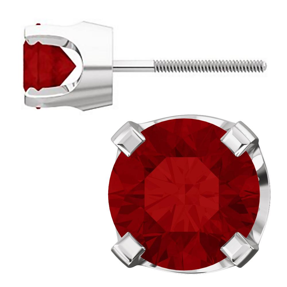 5mm, 1.0cts Chatham Created Red Ruby 4-Prong Screw Back Stud Earrings 14K White Gold - 1000Jewels.com