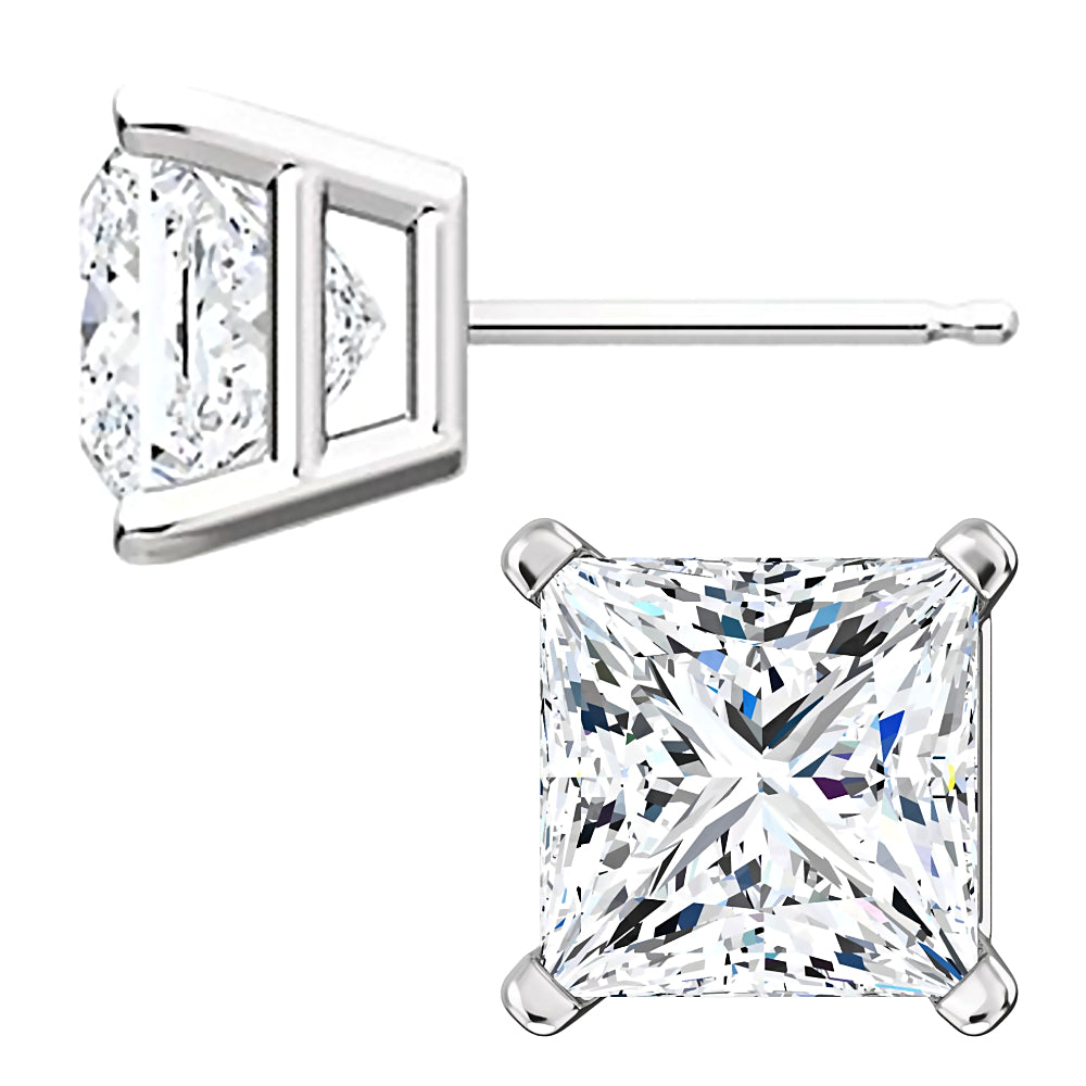 14kt White Gold 7mm Princess Square Earring Mounting