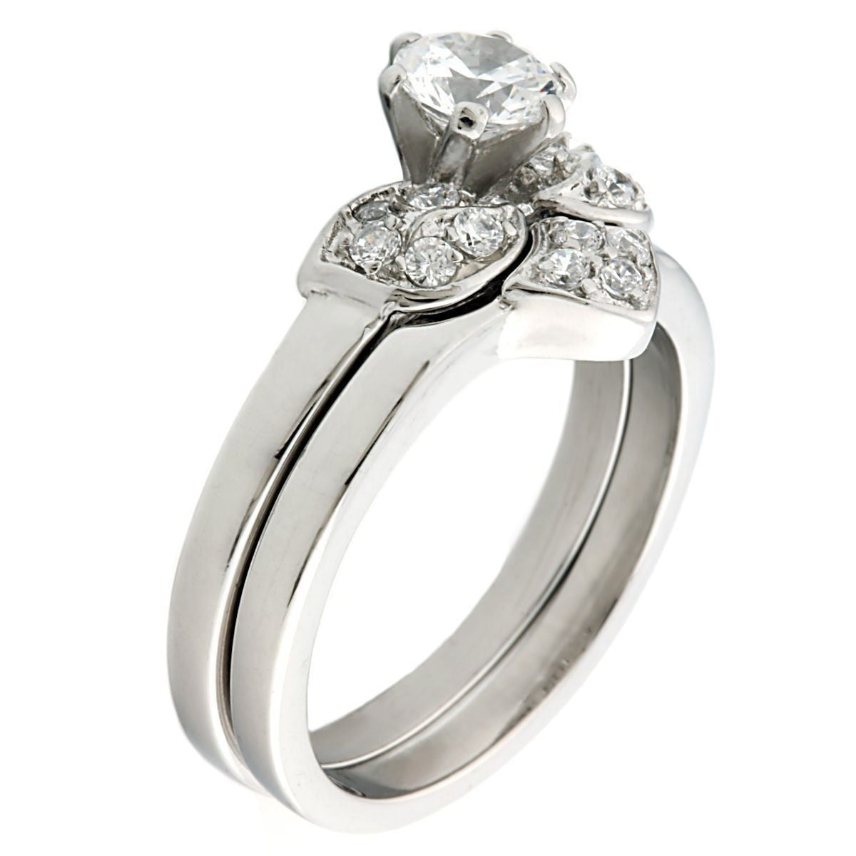 Paige Floral Designed 071ct Russian Iof Cz 2 Pc Wedding Ring Set Trustmark: 2 Pc Wedding Ring Sets At Reisefeber.org