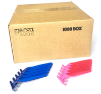 1,000 Box Combo Pack of Blue & Pink Razors - Big Box of Razors - High Quality Bulk Disposable Razor Blades