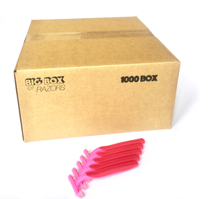 1,000 Box of Pink Razors - Big Box of Razors - High Quality Bulk Disposable Razor Blades