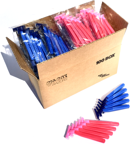100 Box Combo Pack of Blue & Pink Razors
