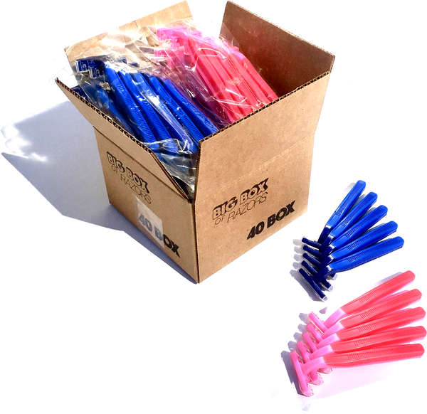 40 Box Combo Pack of Premium Blue & Pink Razors