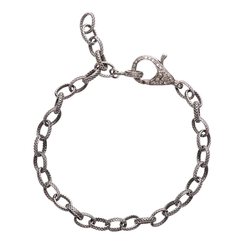 heavy chain & diamond clasp bracelet