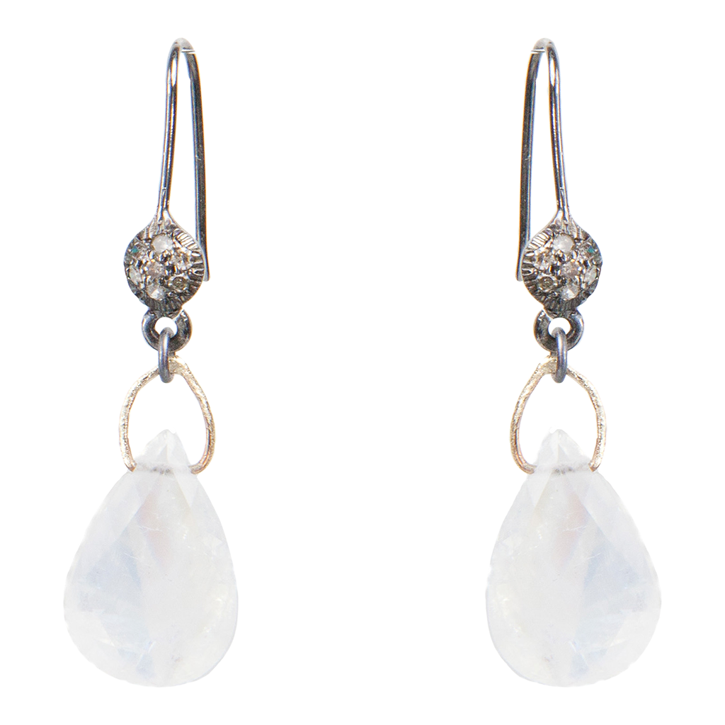 pave diamond moonstone drop