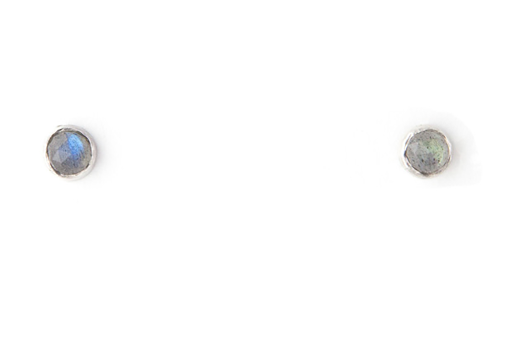 silver and labradorite stud