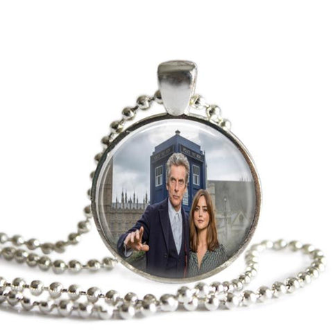 12th Doctor and Clara Silver Plated Picture Pendant Doctor Who Necklace