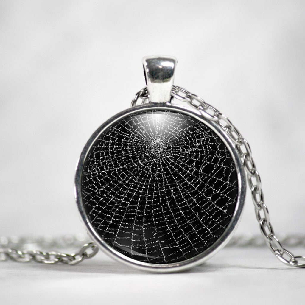Spider Web Silver Plated Pendant Necklace