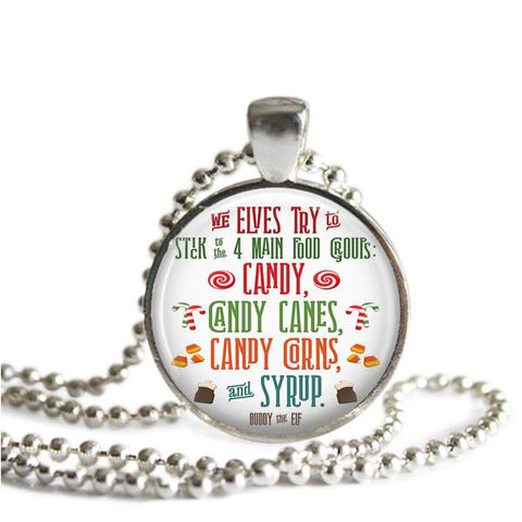 Buddy the Elf Silver Plated Picture Pendant Necklace The Elves Four Main Food Groups