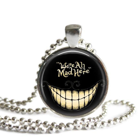 We're All Mad Here Cheshire Cat Necklace Alice In Wonderland
