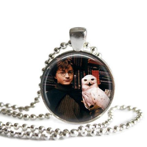 Harry Potter and Hedwig Silver Plated Pendant Necklace Handmade