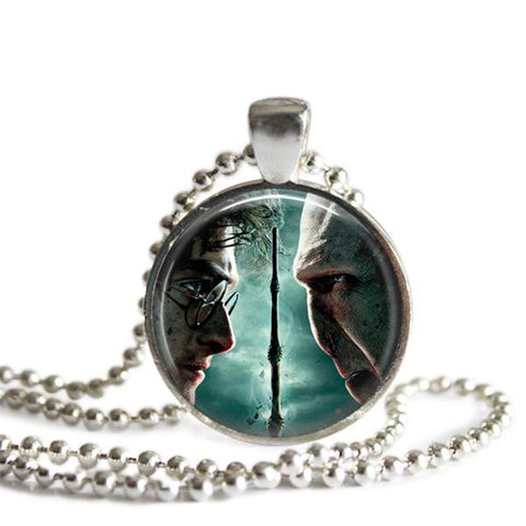 Harry Potter and Voldemort Silver Plated Pendant Necklace Handmade