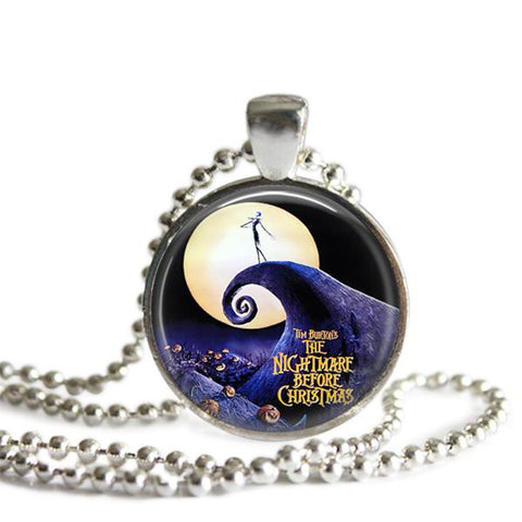 The Nightmare Before Christmas Purple Pumpkin Silver Plated Pendant Necklace