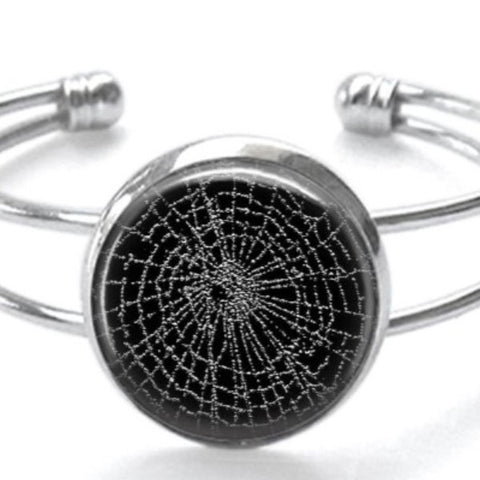 Spider Web Silver Plated Cuff Bracelet Handmade