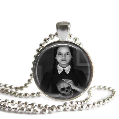 Wednesday Addams Skull Pendant Necklace