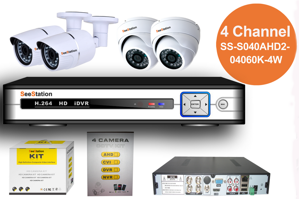 SeeStation (AHD) KIT 04 Channel 2MP/1080P Analog High Definition Surveillance Kit (FREE HDD)