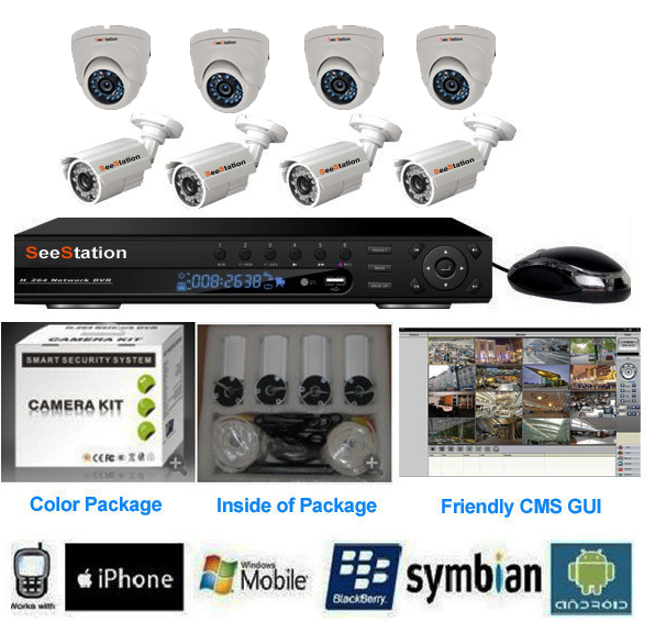 SeeStation DVR Kit 8 Channel 960H With 8 Each 800TVL Cameras