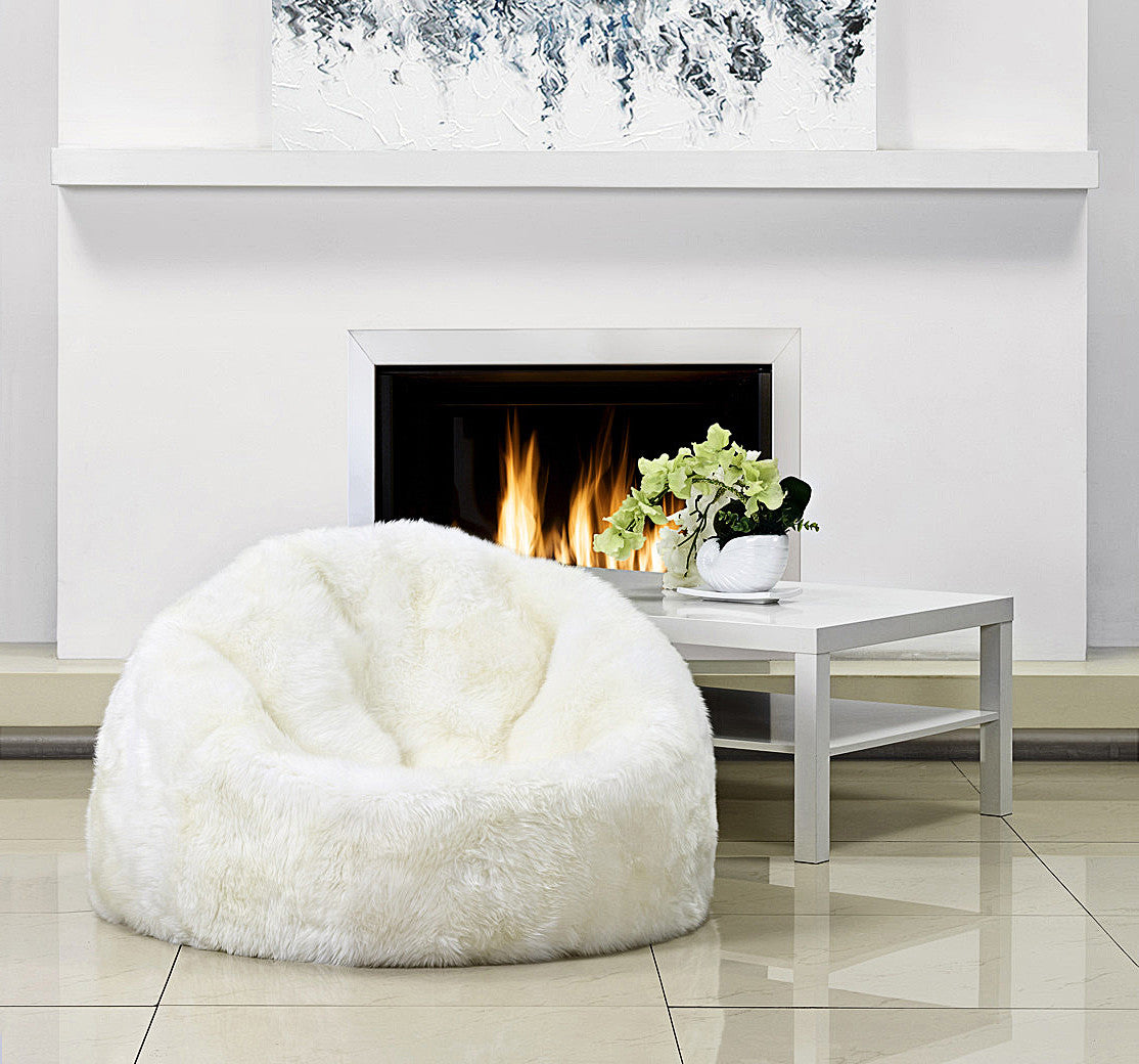 Marvelous Sheepskin Bean Bag Squirreltailoven Fun Painted Chair Ideas Images Squirreltailovenorg