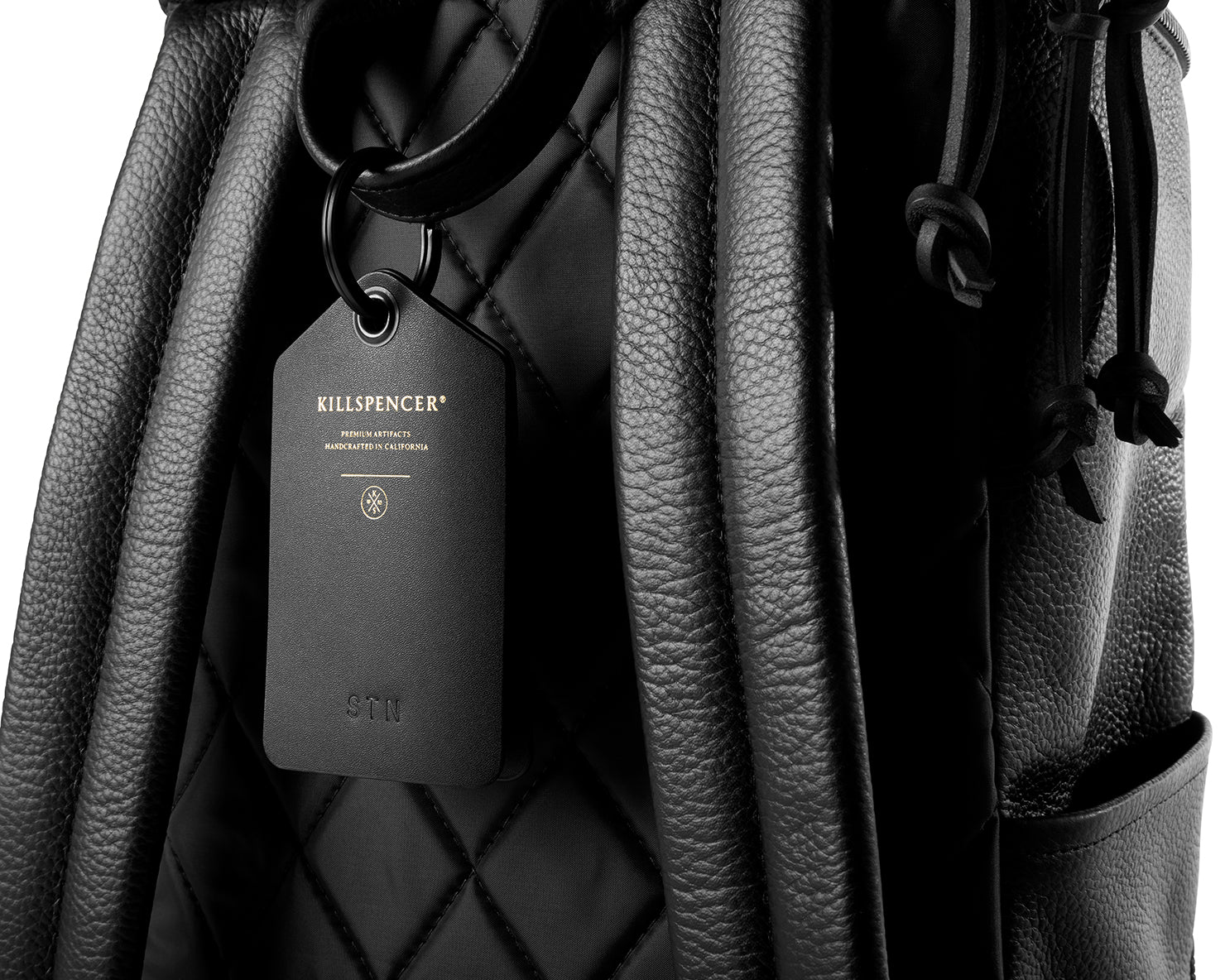LUGGAGE TAG | KILLSPENCER® - Black Bullhide Leather
