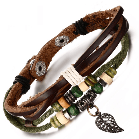 Genuine Leather Bangle Stainless Steel Bracelet - 85