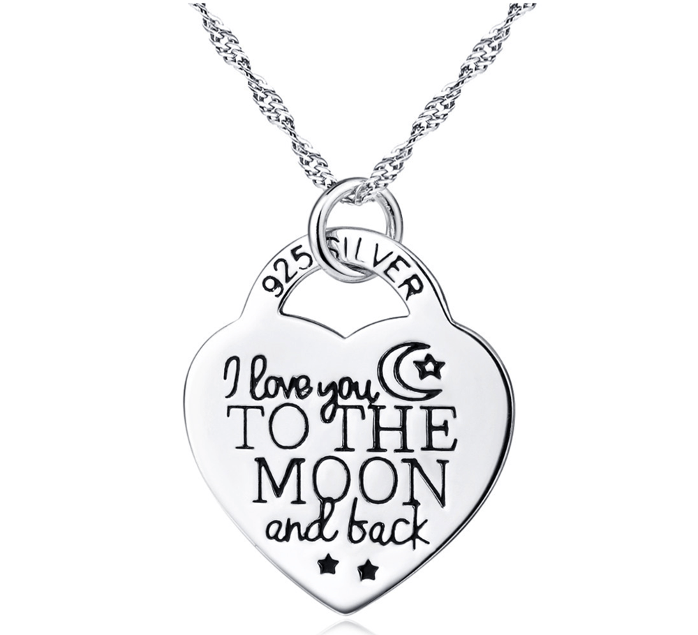 925 Sterling Silver I Love You to The Moon and Back Heart Necklace