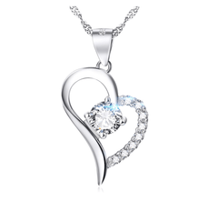 925 Sterling Silver CZ Crystal Heart Pendant Necklace